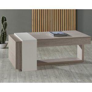 TABLE BASSE Table basse relevable 2 tiroirs Chêne clair-Blanc