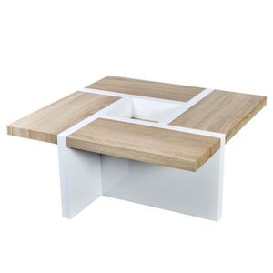 table basse chene et blanc achat vente pas cher. Black Bedroom Furniture Sets. Home Design Ideas