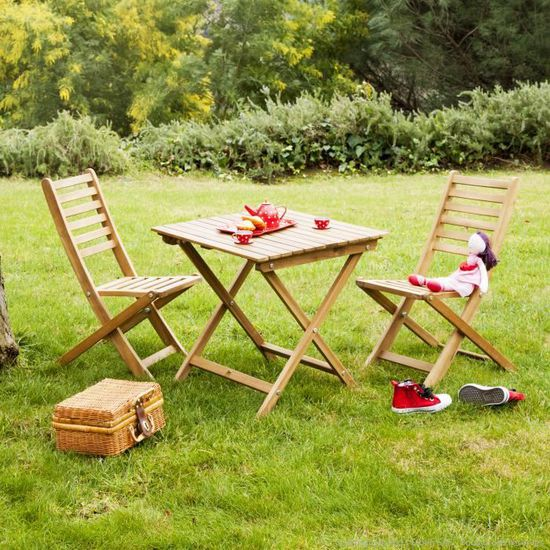Salon de jardin enfant 2 places en Acacia : 1 table carrée + 2 chaises  LUDIM-Teck