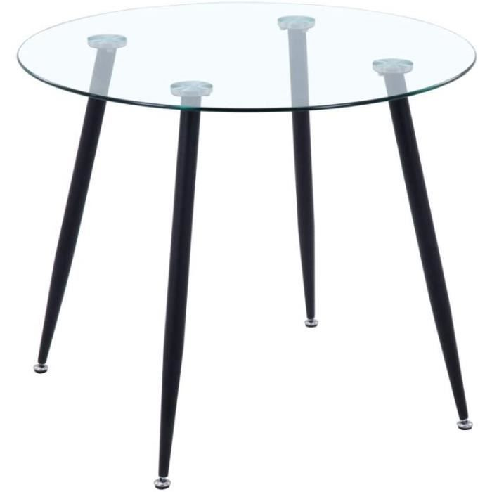 GOLDFAN Table Ronde Salle Manger Table Cuisine Salon Ronde 80cm Table à Manger en Verre avec Pieds en Métal, Noir[98]