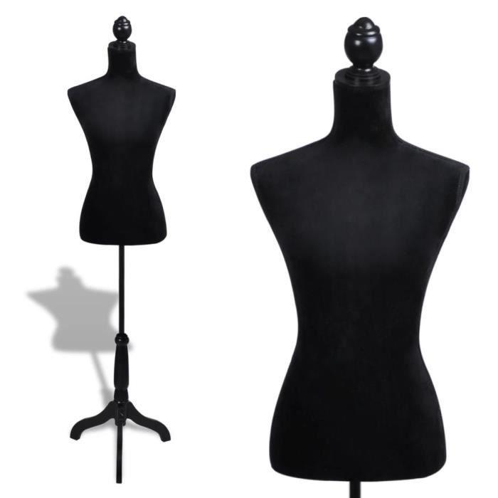 Mannequin Couture Femme - Buste Mannequin De Vitrine - Trépied Inclus - Montagne Facile&Léger - Hauteur Réglable - Noir