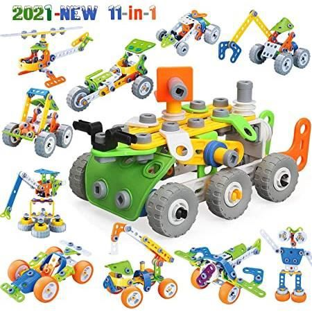 blocs de construction jouets 175 pièces 11-en-1 jouet de construction,jeux pour garçons et filles-l'apprentissage la construction jo