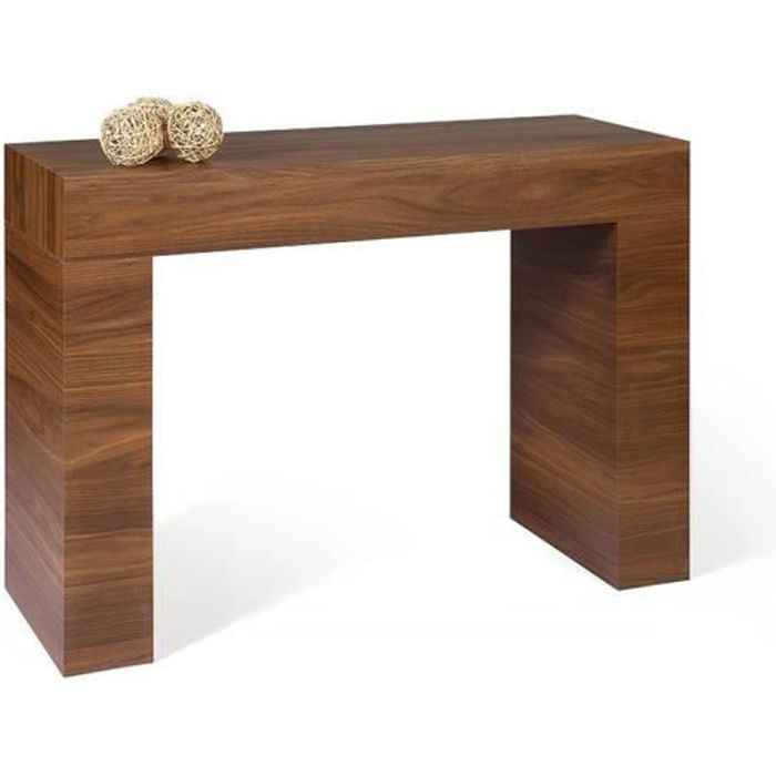Mobili Fiver, Table console, Evolution, Noyer Canaletto, Mélaminé, Made in Italy