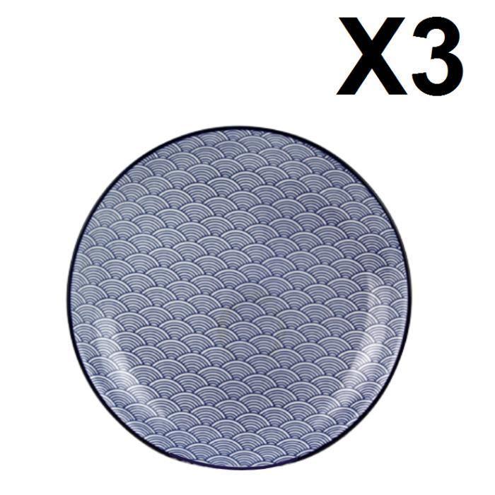 BLUE LAGOON Lot de 3 Assiettes 21 cm Bleu, service de table