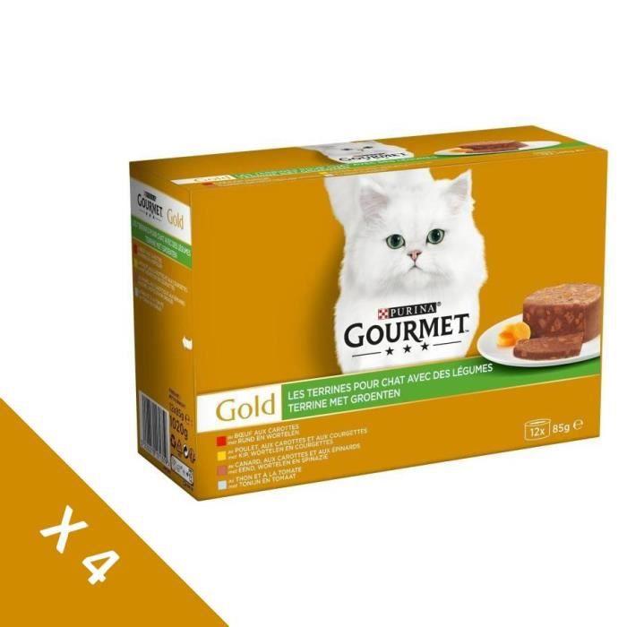 [Lot de 4 / 12 x 85g] GOURMET Gold Les terrines légumes - Chat adulte - 4 boîtes de 12 x 85g