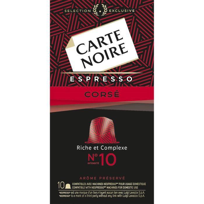 LOT DE 8 - CARTE NOIRE Café Corsé n°10 Compatible Nespresso - Boite de 10 capsules - 53 g