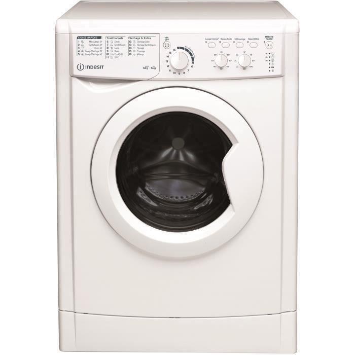 Lave-linge séchant HOTPOINT EWDC651251WFRN -Lavage 6 kg / Séchage 5 kg - Classe B - 1200 tours/min - Blanc