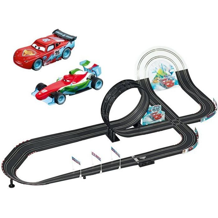 Carrera Go !!! Cars Circuit 2 voitures Flach Mc Queen et Raoul Ice Drift