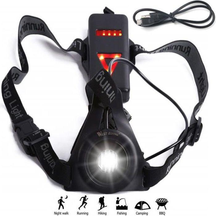 Lampe Running Torse, Rechargeable pour Lampe torche à LED Nuit avec d'avertissement arrière du vélo pour jogging
