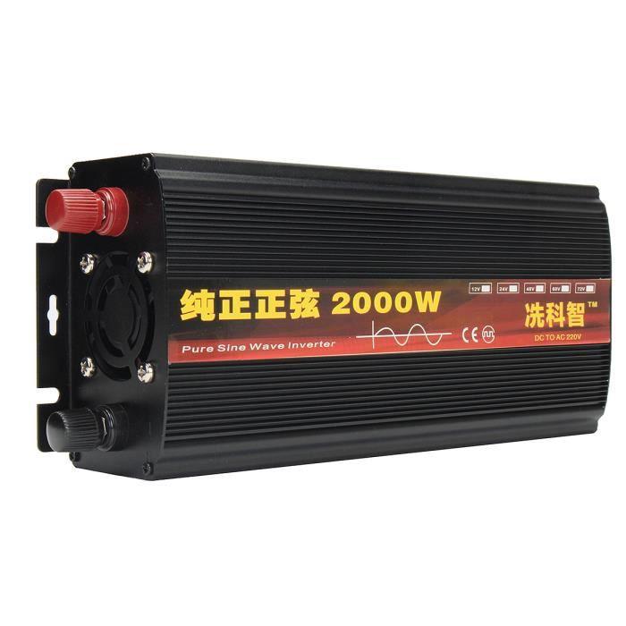 NEüFU Convertisseur Onduleur Puissance 50Hz Onde Sinusoïdale Pure Transformateur Chargeur électronique Automatique noir 12V 2000W