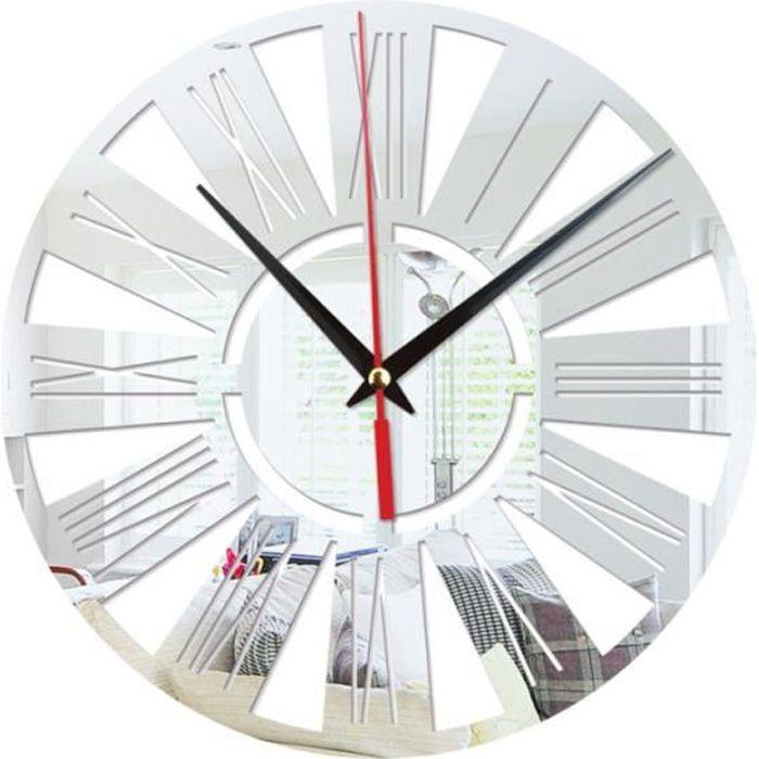 Horloge murale ronde cuisine moderne Home Decor chiffres romains forme sticker mural miroir creux sans batterie (Argent)