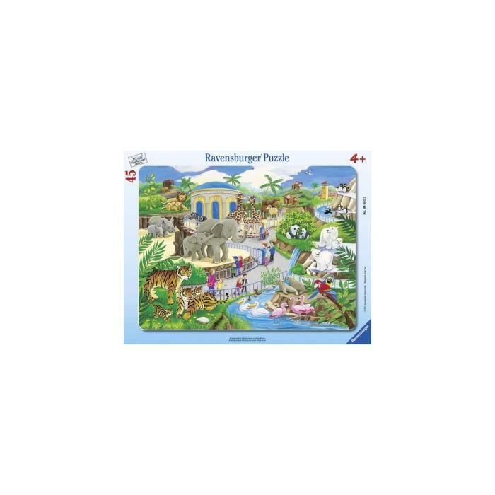 Puzzle Enfant Avec Cadre 45 Pieces Visite Des Animaux Aux Zoo - Ravensburger