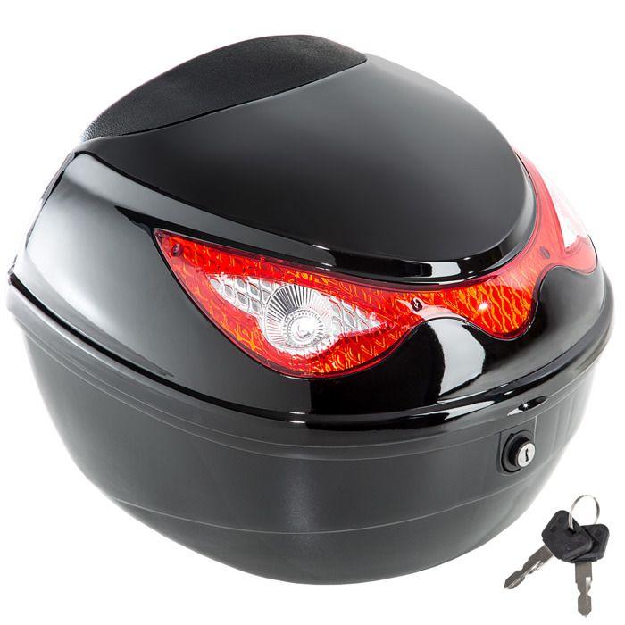 TECTAKE Top Case 22 L Universel pour Moto Scooter Quad 38 cm x 40 cm x 30 cm Noir + Kit de Fixation