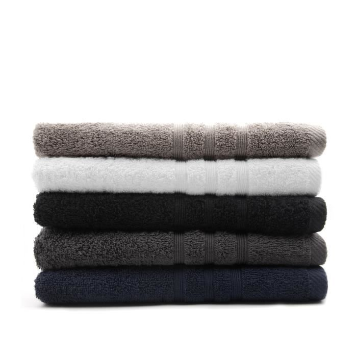TODAY Lot de 5 Draps de bain assortis - 5 Coloris - 70 x 130 cm - 100% coton