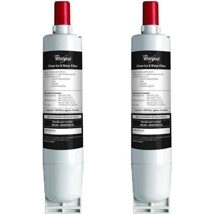 Lot de deux filtres a eau original Whirlpool SBS002 pour refrigerateur americain 484000008726(2)