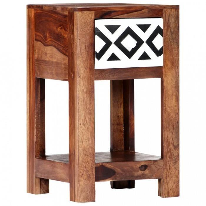 P178 Table De Chevet 30 X 30 X 50 Cm Bois Massif De Sesham Achat