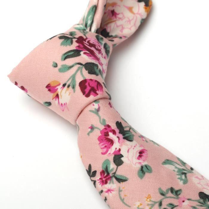 Noir Avec Fleur Rose Motif Pochette Homme Cravate Polyester Boutons de Manchette