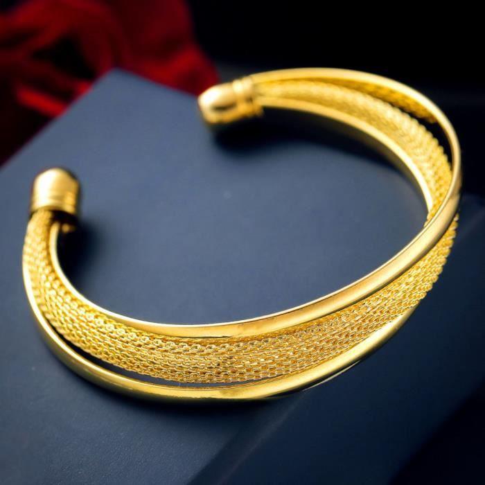 Fashion Femmes plaqué or simple bracelet en cuir Bijoux Charme Cuff Bangle Cadeau