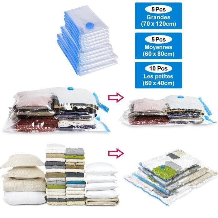 10 X Transparent de rangement sous vide sacs de Gain D/'Espace Voyage Vêtements Sacs 50 x 70 cm