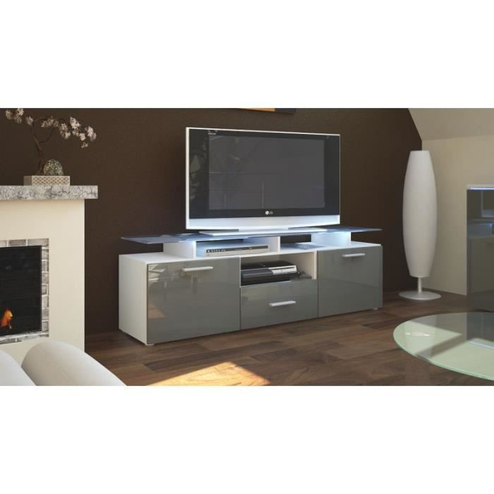 meuble tv laqu blanc et gris avec led 146 cm achat. Black Bedroom Furniture Sets. Home Design Ideas