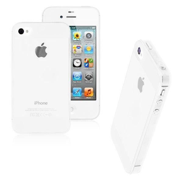 coque iphone 4 4s silicone blanc transparent