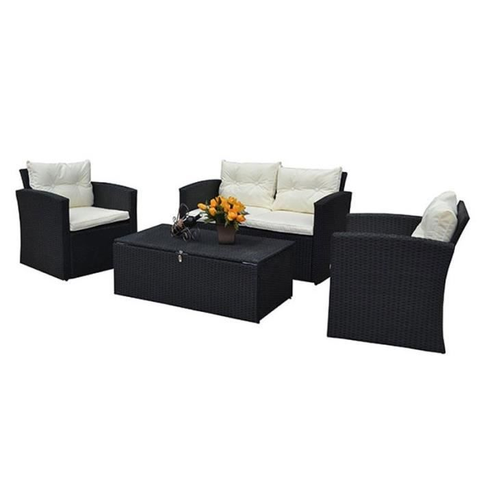 salon de jardin r sine tress e coffre de rangement pour coussins achat vente salon de. Black Bedroom Furniture Sets. Home Design Ideas