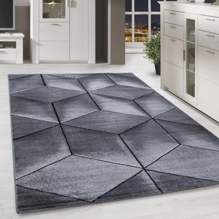 Salon au design contemporain sans couture, poil court géométrique noir gris  chiné [160x230 cm ]