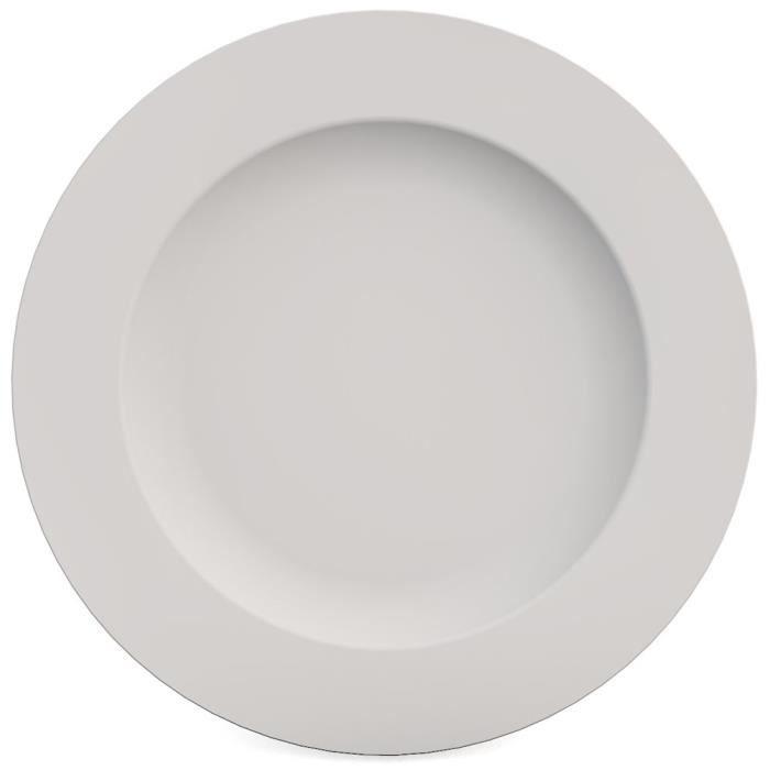 ASSIETTE Ornamin Assiette Plate Ø 27 cm Blanc Mélamine (Mod