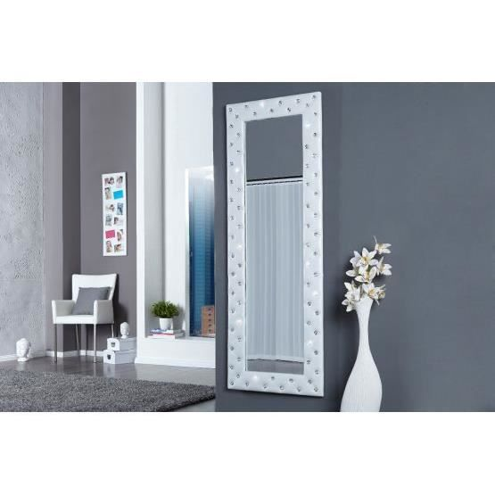 miroir design stariss blanc achat vente miroir tissu acrylique coton cdiscount. Black Bedroom Furniture Sets. Home Design Ideas