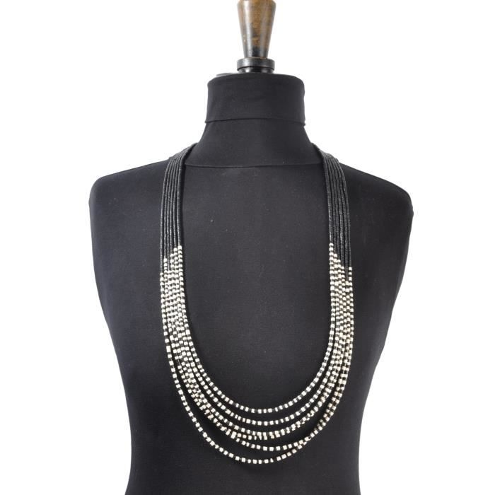 Long collier ethnique multirang - Culture Mix Blanc
