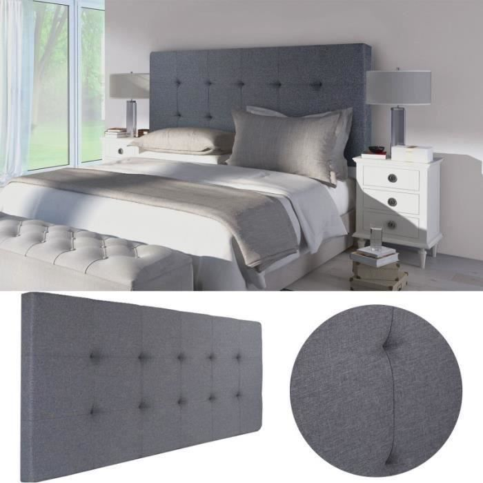 tete de lit gris capitonne en 160 achat vente tete de. Black Bedroom Furniture Sets. Home Design Ideas