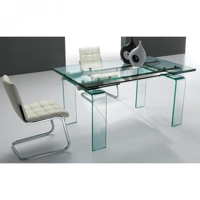 table de repas aero verre transparent extensible achat vente table a manger seule table de. Black Bedroom Furniture Sets. Home Design Ideas