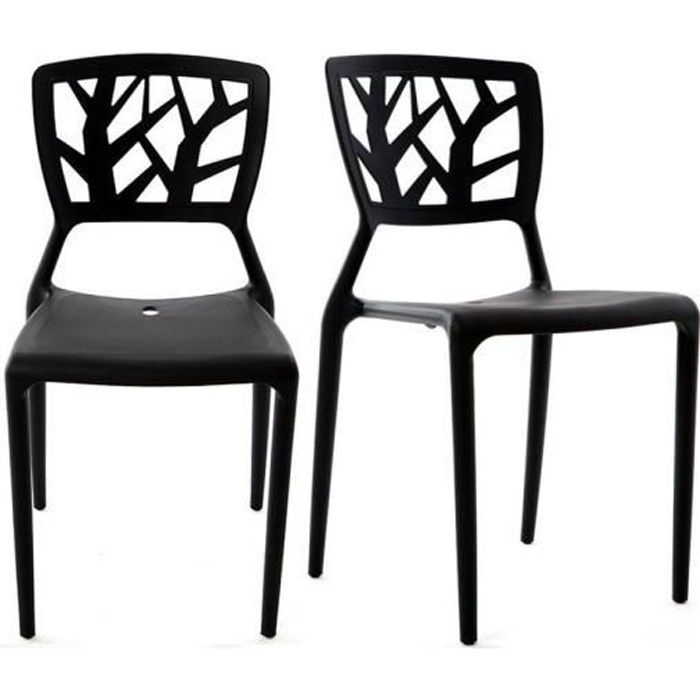 Miliboo lot de 2 chaises design noires katia achat for Designer de chaise celebre