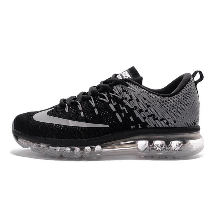homme nike flyknit air max 2016 baskets chaussures de running noir et gris tu achat vente. Black Bedroom Furniture Sets. Home Design Ideas