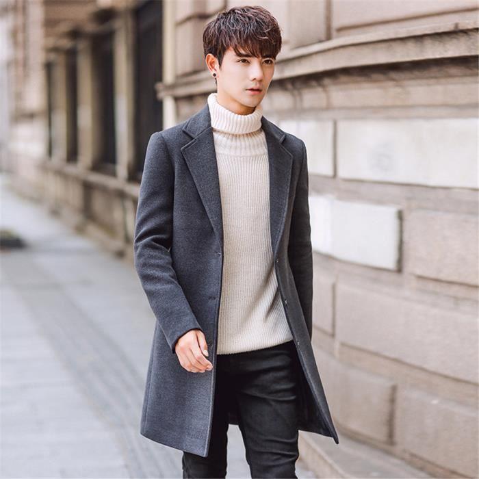 mode britannique manteau manteau hiver long homme Nik Style QCxsdhrtBo