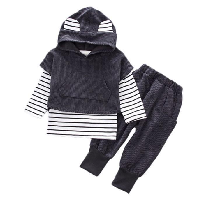 Enfants Filles Cœur Pullover Pull Haut Pantalon Décontracté Tenues Set Vêtements