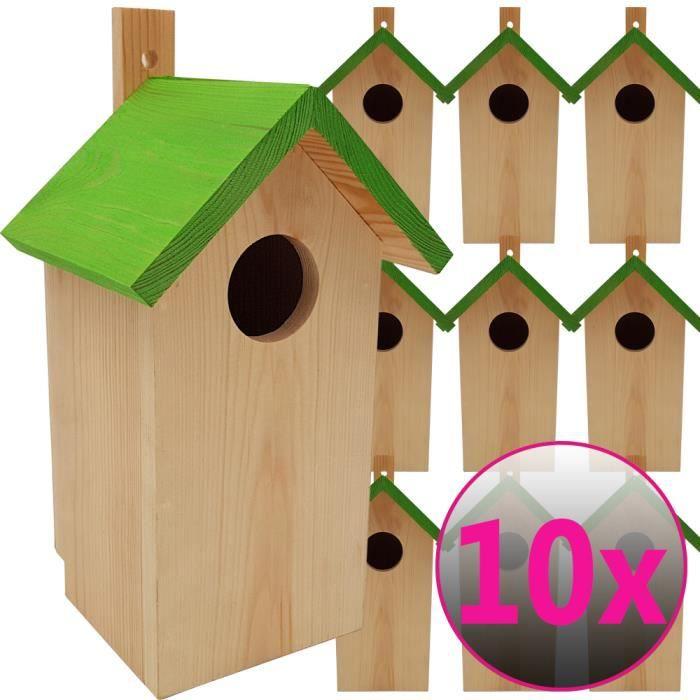 10x Nichoirs Pour Oiseaux 23 X 10 X 10 Cm En Bois Mangeoire Ideal Pour Mesanges Mesanges Charbonniere Rouges Queues Cdiscount Animalerie