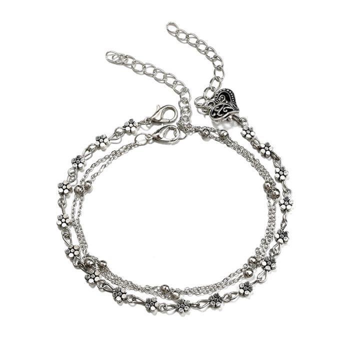 CHAINE DE CHEVILLE Alliage de boheme 3 couches Perles Fleur Bracelets