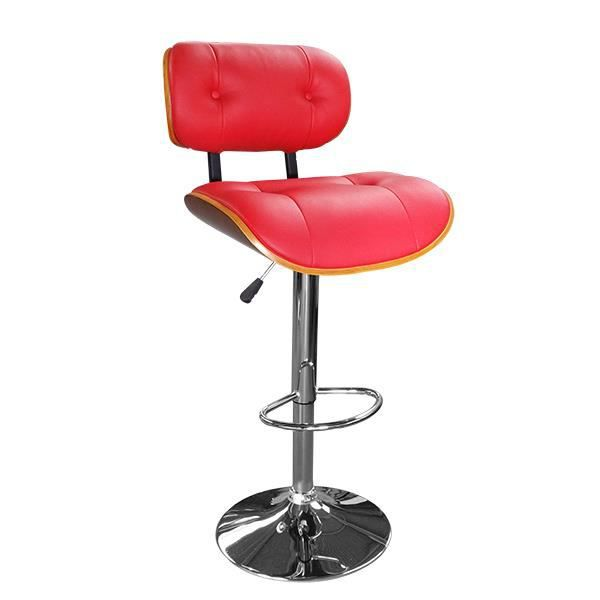 Wood tabouret de bar hauteur r glable simili cuir rouge - Tabouret de bar hauteur reglable ...