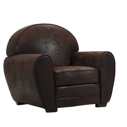 fauteuil club en microfibre vintage achat vente fauteuil mati re de la structure bois. Black Bedroom Furniture Sets. Home Design Ideas