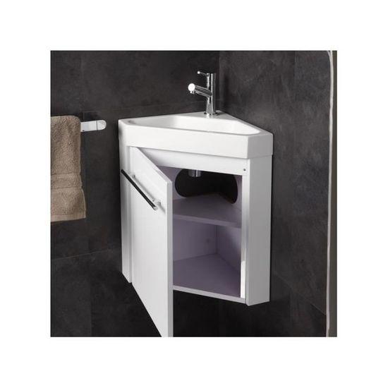 Lave-mains d\'angle complet pour WC avec meuble design blanc