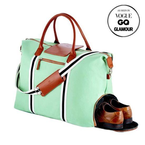 Saint Maniero Sac de Voyage Toile Voyage Sac PU Sac Week-End Sac de Voyage Cuir Vintage Duffle Bag Sport Duffel Weekender Bag Sac de Sport Baise-en-Ville Sac de Gym Bleu Marine, L-XL