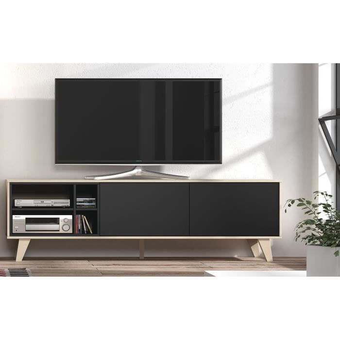 zaiken meuble tv scandinave gris anthracite et d cor ch ne l 180 cm achat vente meuble tv. Black Bedroom Furniture Sets. Home Design Ideas