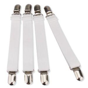 Blanc AURIZE 4pcs Tendeur de Draps,Fixation de Feuille,Lit Bretelles Feuille de Sangles
