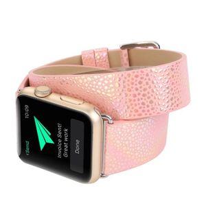 MONTRE Bracelet en cuir à double tour pour bracelet Apple