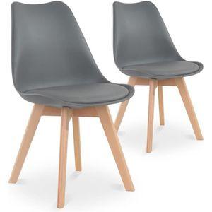 CHAISE Lot de 2 chaises style scandinave Catherina Gris