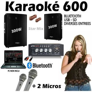 PACK SONO KARAOKE 600 + AMPLI + 2 ENCEINTES 300W + 2 MICROS