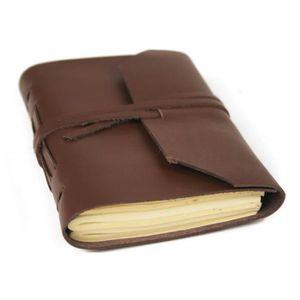 AGENDA - ORGANISEUR Agenda Indra en cuir marron fait à la main, pages