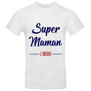 T-SHIRT T-Shirt premium - Homme - blanc - SUPER MAMAN