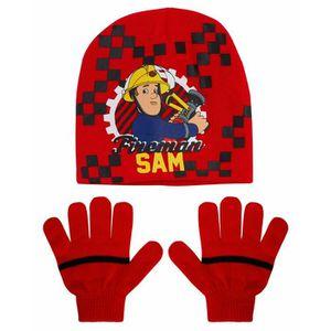 BONNET - CAGOULE Ensemble SAM LE POMPIER bonnet gants enfant garçon